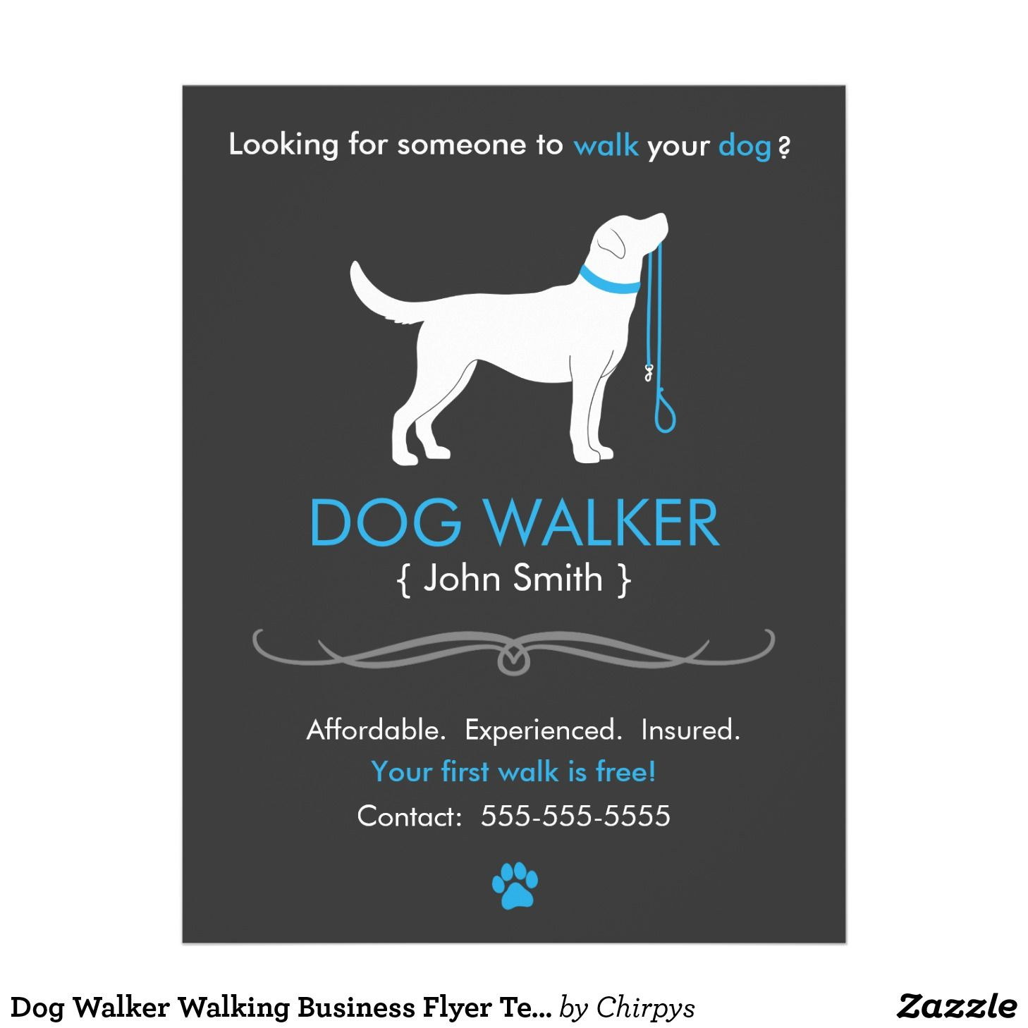 Dog Walker Walking Business Flyer Template Zazzle Com Dog