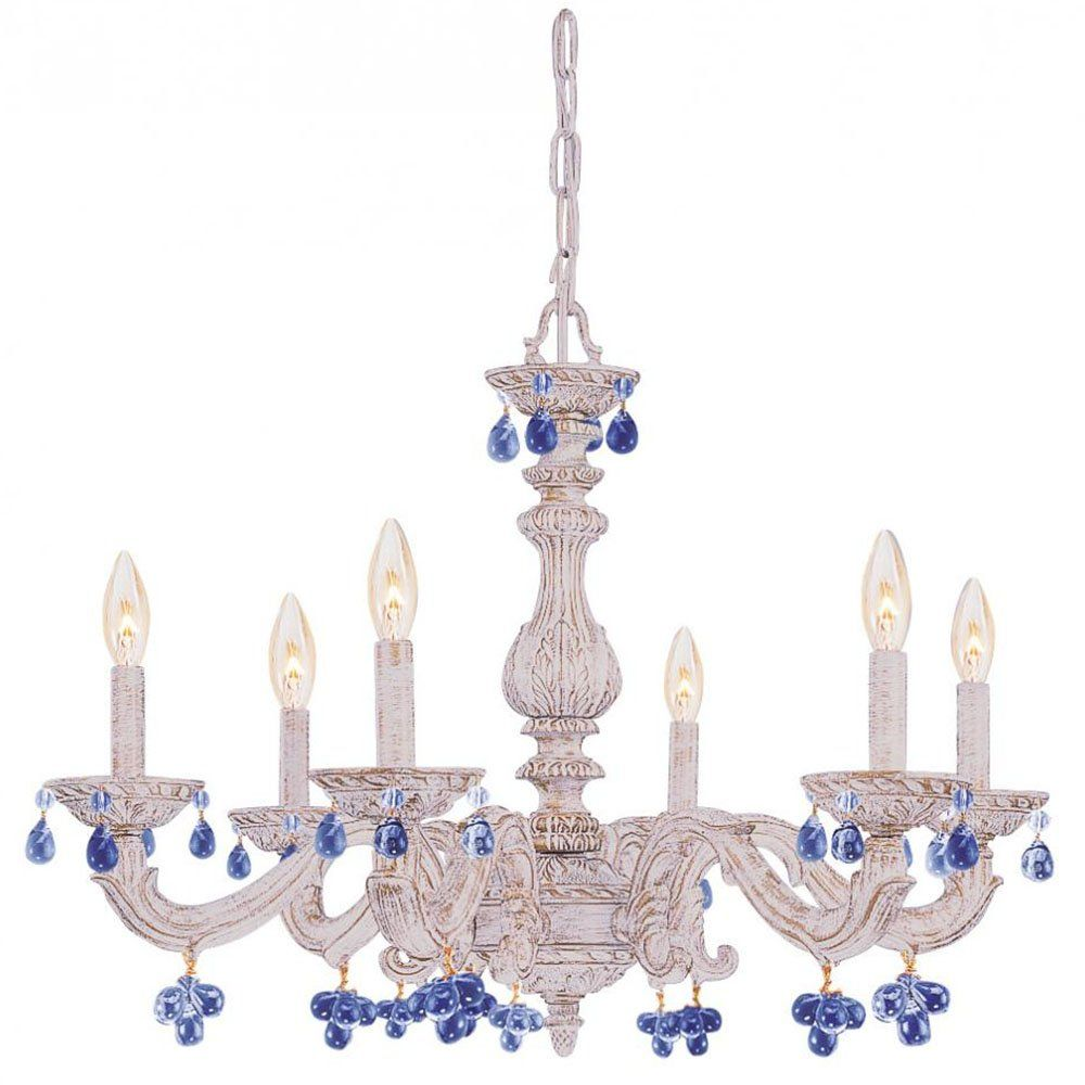 Crystorama lighting 5226 aw rosa chandelier with murano crystals 6 lights antique white chandelier draped w crystal drops arubaitofo Images