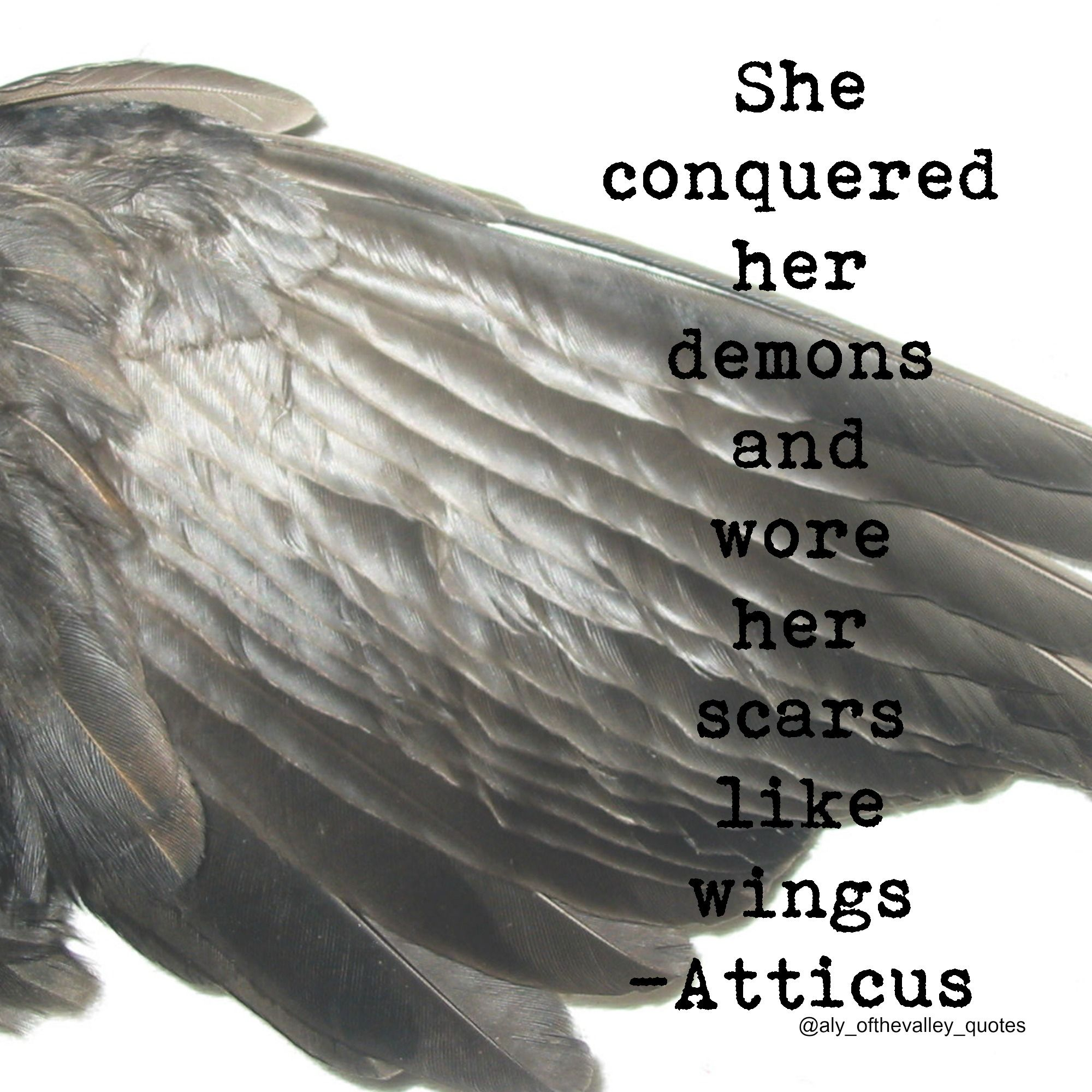 #quotes #conquered #demons #scars #wings #atticus