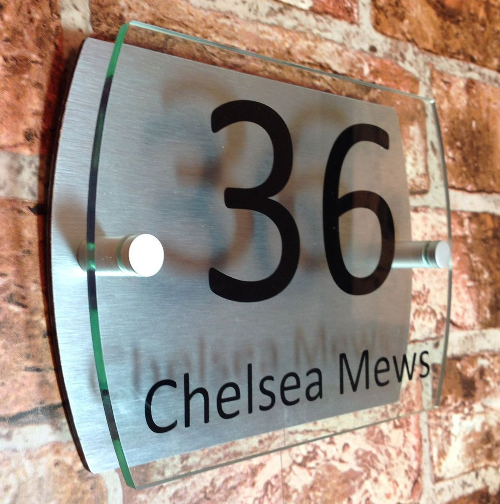 House sign plaque door number street name glass effect acrylic
