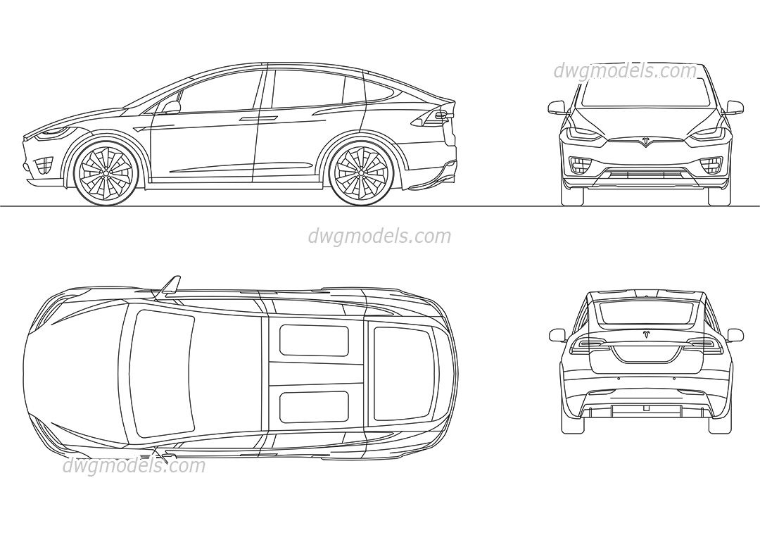 Car Front Elevation Autocad File : Tesla model cad blocks free dwg file the best
