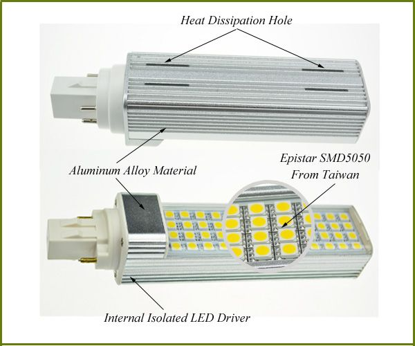 Replace 26w Cfl 3000k 6400k Smd5050 Pl Led Light Bulb 11w Gx23 2 Pin 120 277volt Led Light Bulb Light Bulb Bulb