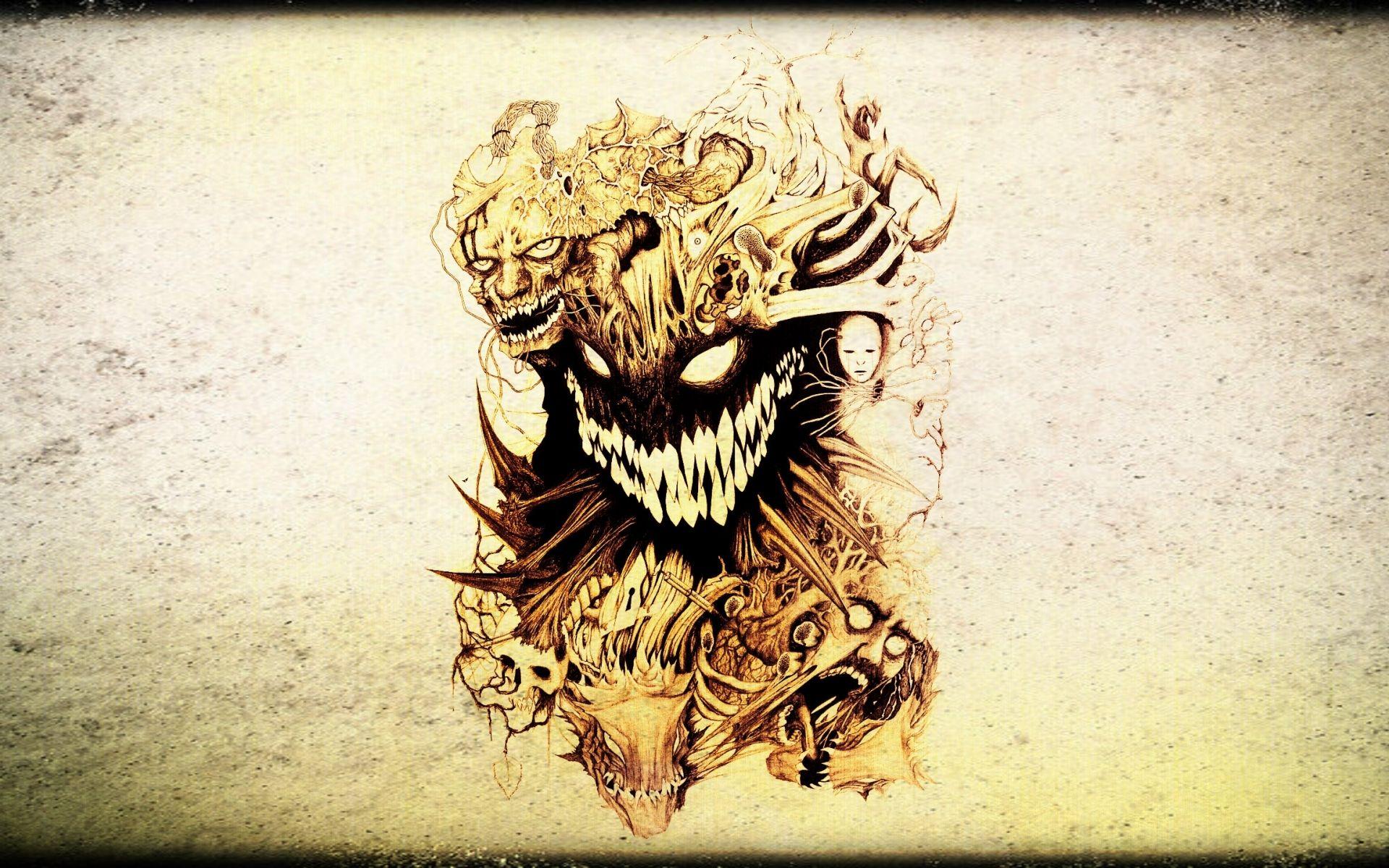 Dark horror skull evil tattoo wallpaper 1920x1200