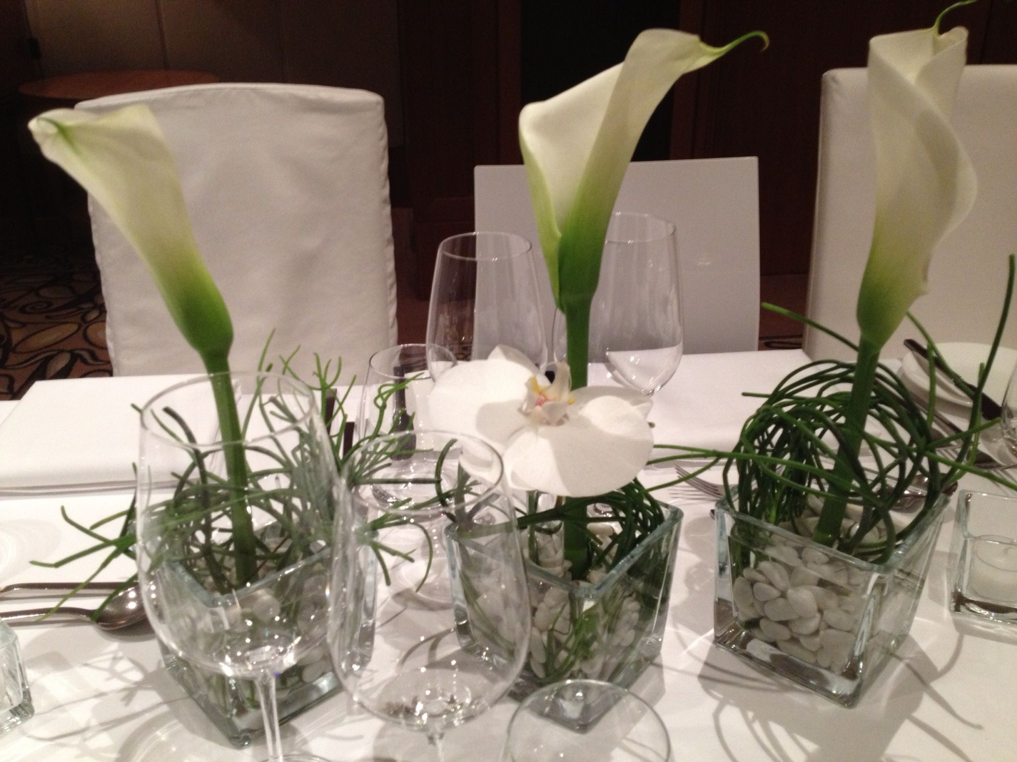 Silberhochzeit Blumen Tischdekoration Tabledecoration Flowers Callas White In