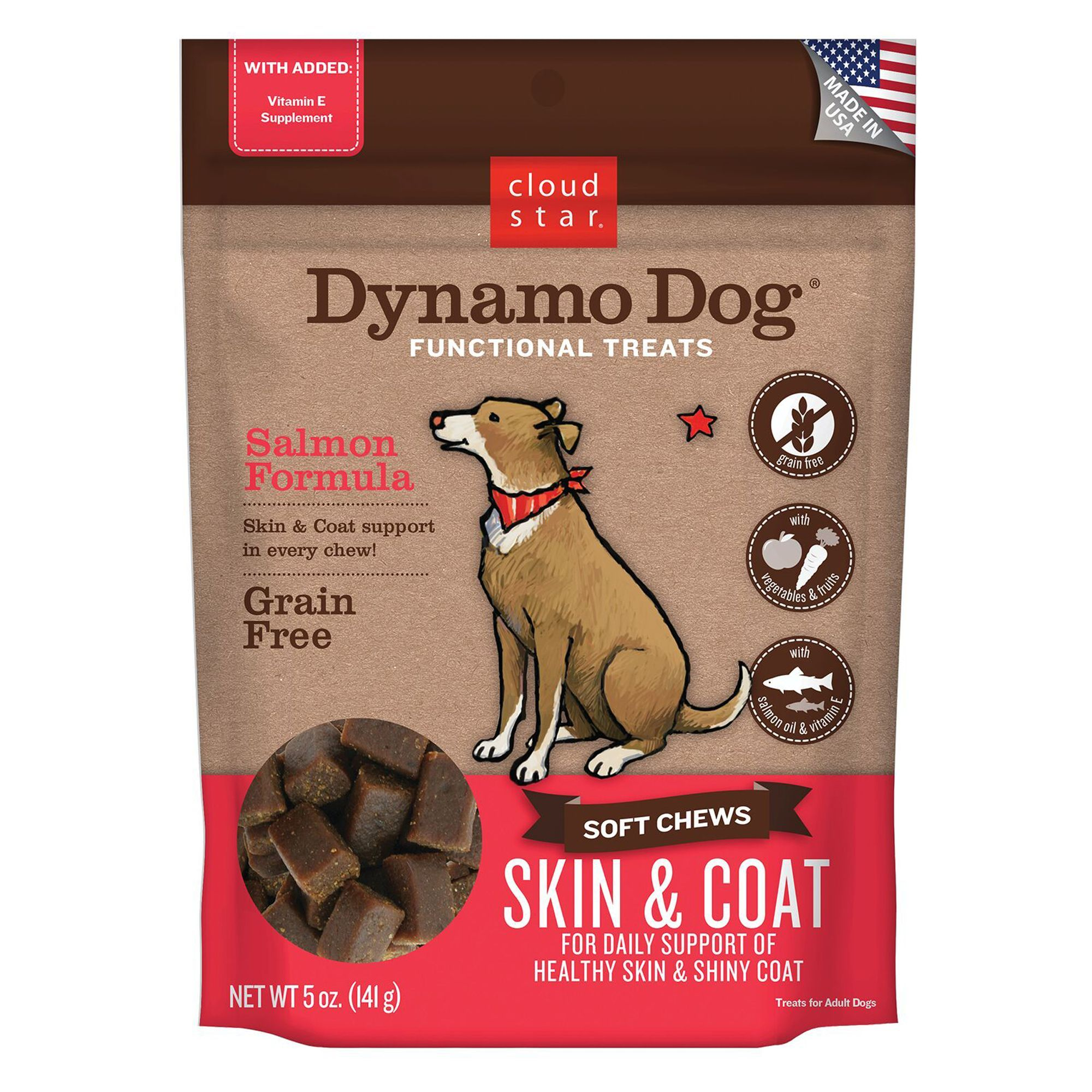 Cloud Star Dynamo Dog Skin Coat Dog Chew Grain Free Salmon