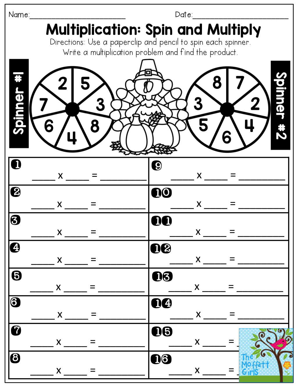 Multiplication Spin And Multiply 2 8 So Much Fun When You Can Make A Game Out Of Learni Multiplication Math Activities Elementary Common Core Math Fractions