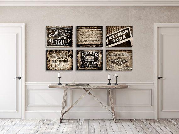 Rustic Brown Kitchen Decor Print Set Of Sepia Wall Art Country Farmhouse