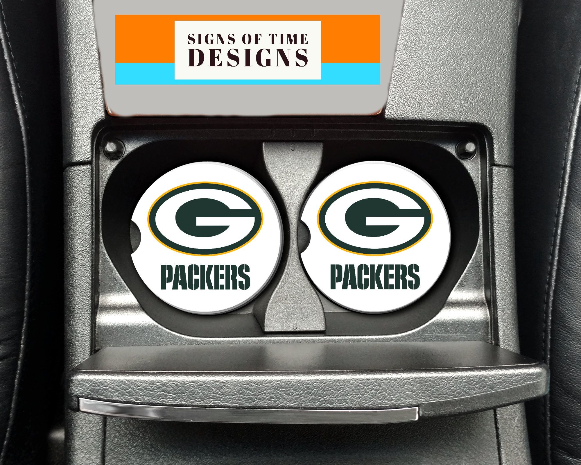 absorbs Green Bay Packers Pattern Sandstone car coaster 2 piece set