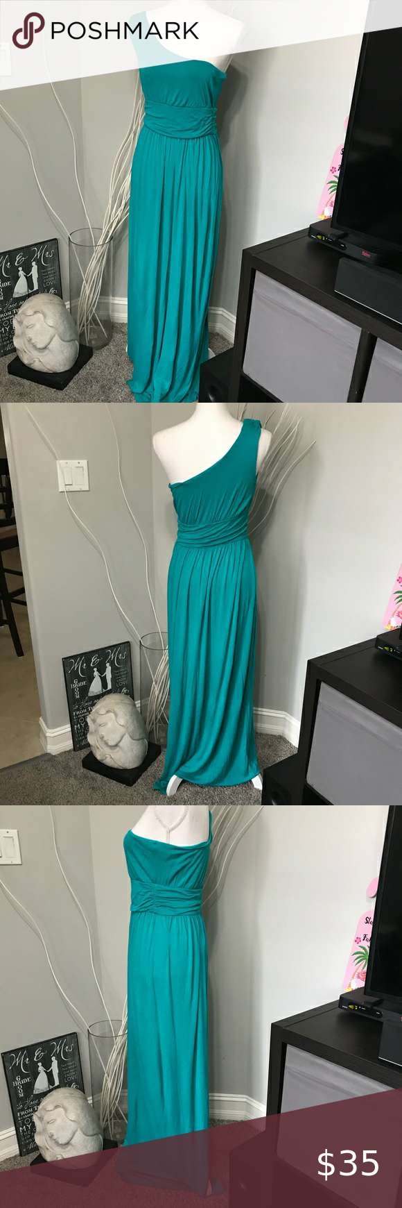 Body Central Teal One Shoulder Stretchy Maxi Dress Body Central Dresses Body Dress Womens Maxi Dresses [ 1740 x 580 Pixel ]