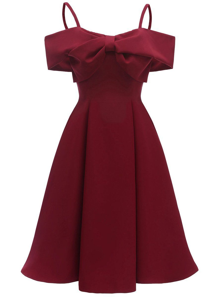 1950s dress off shoulder slip bow decor dress, wine red / l