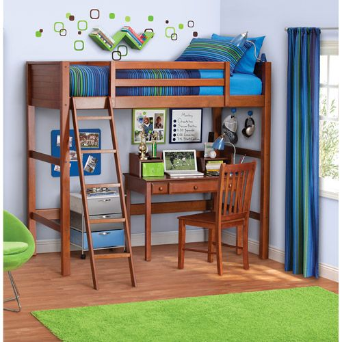 Your Zone Kids Wooden Loft Bed With Ladder Twin Walnut Walmart Com Kids Loft Beds Loft Bed Loft Spaces