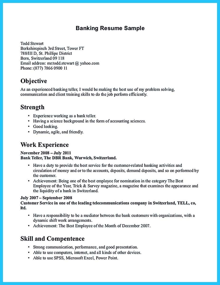 Bank Teller Job Description For Resume Nice One Of Recommended Banking Resume Examples To Learn Check