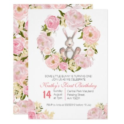 1st birthday bunny girl invitation card 1st birthday bunny girl invitation card giftidea gift present idea one first bday birthday 1stbirthday stopboris Images