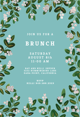White Bloom Brunch Lunch Invitation Template Free Greetings Island Brunch Invitations Lunch Invitation Party Invite Template