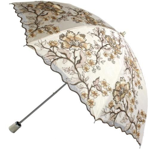 Lace-up double-layer embroidered female rubber anti-ultraviolet sun umbrella