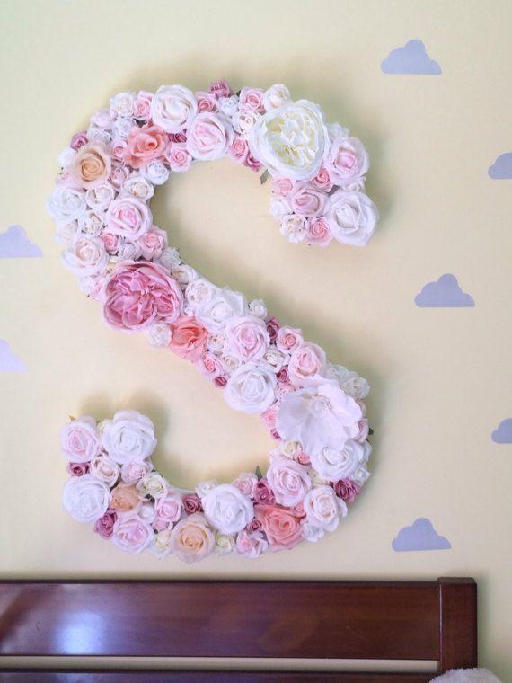 Large Floral Letter Floral Nursery Decor Wooden Letter With