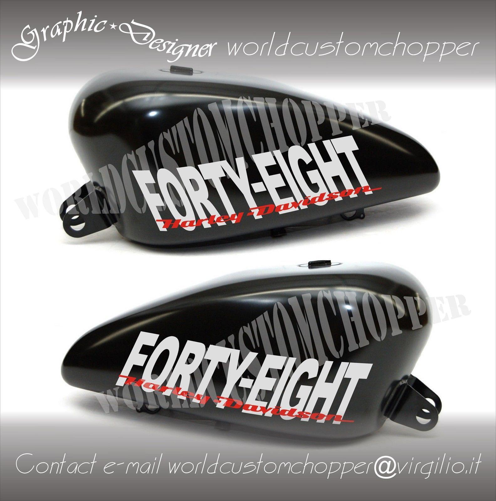 2 stickers autocollant bobber motorcycle custom chopper moto réservoir decal hd