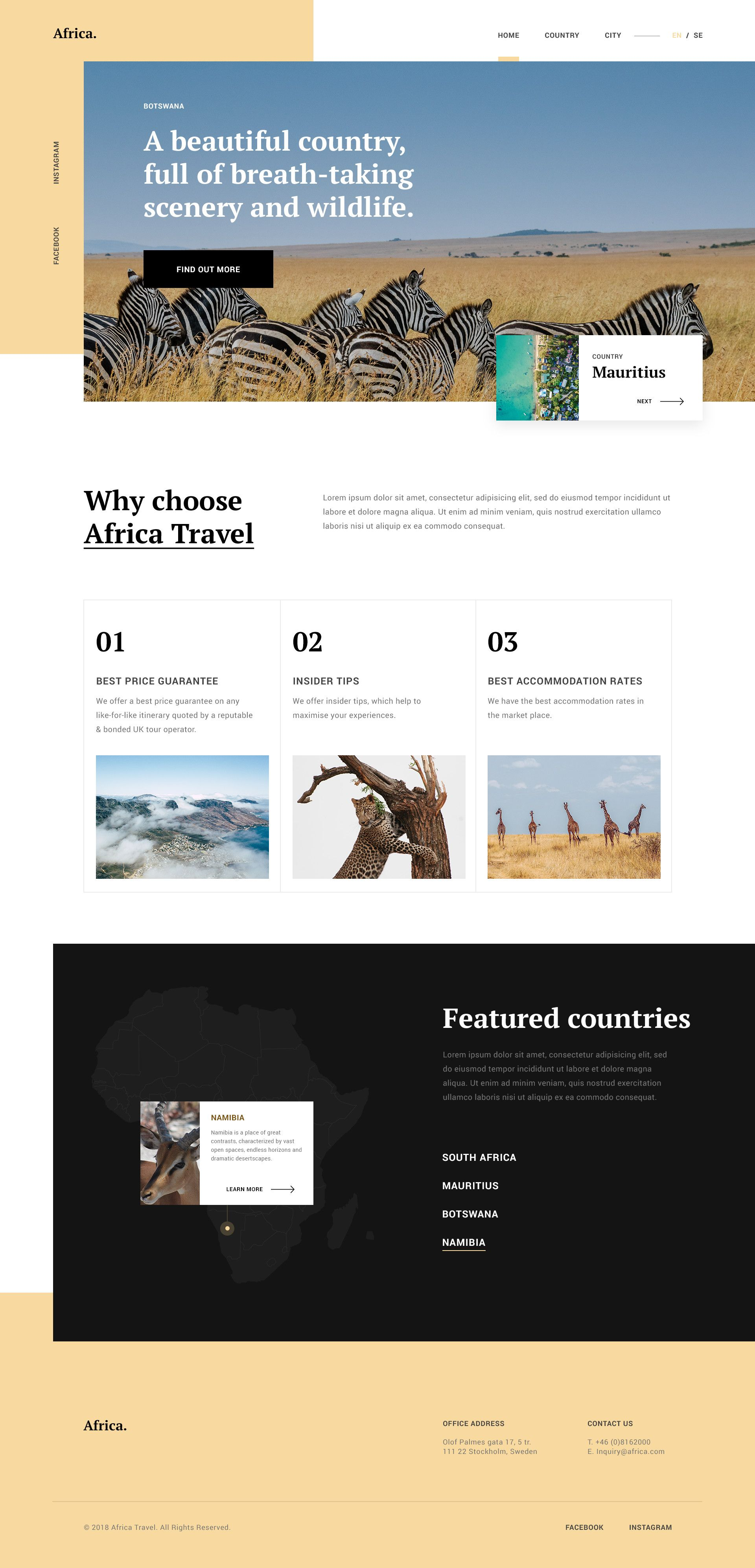 Africa Travel Guide Travel Guides Layout Travel Guide Design Travel Website Design