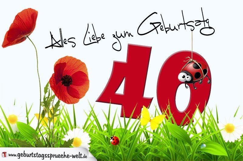 Geburtstagskarte Mit Blumenwiese Zum 40. Geburtstag    Geburtstagssprüche Welt