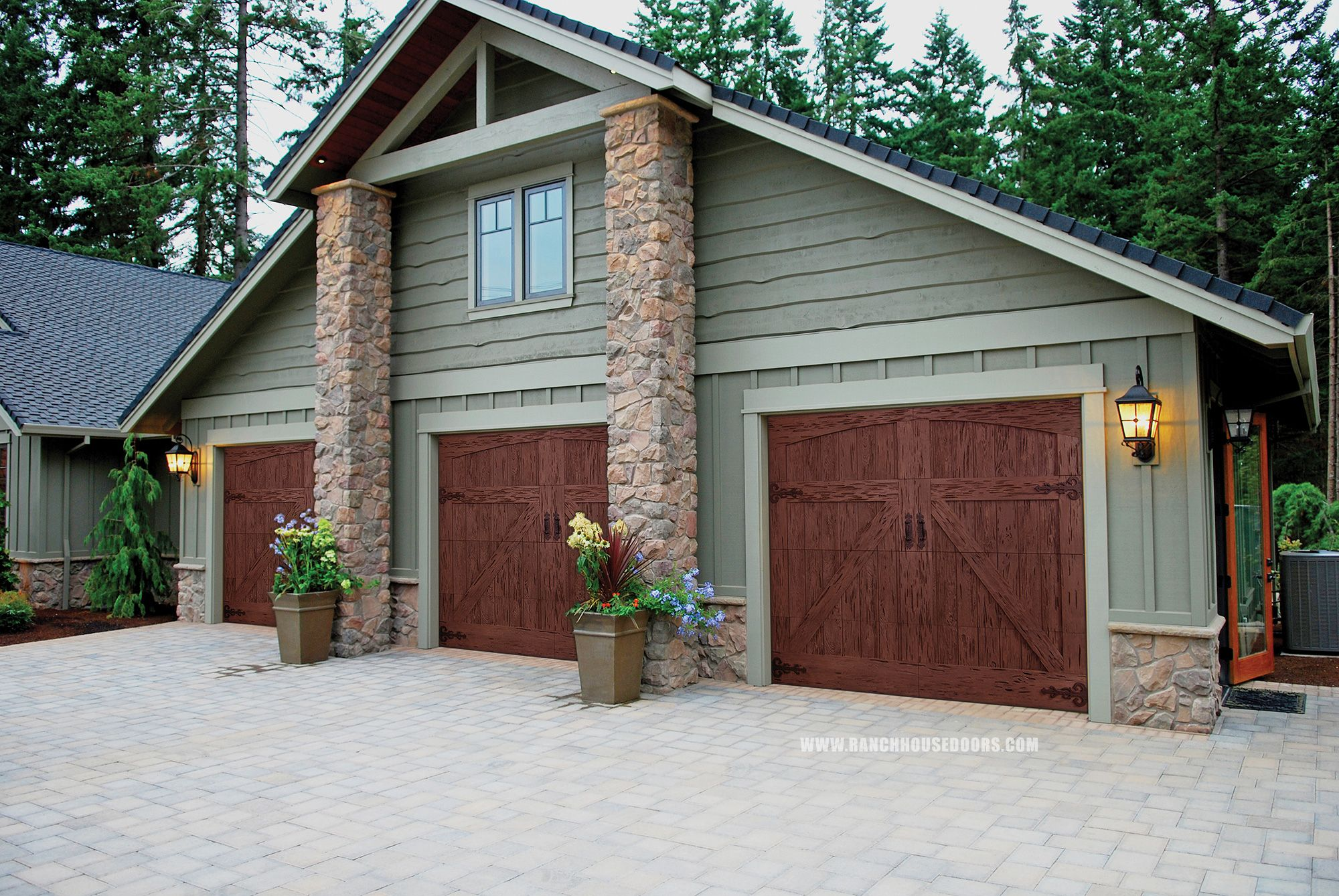 Ranch house doors elements collection faux wood garage for Ranch house garage doors