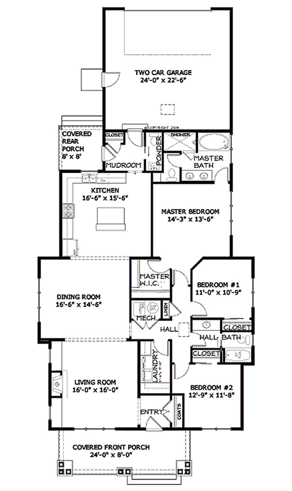 Bungalow Style House Plan 3 Beds 2 5 Baths 1915 Sq Ft Plan 434 3 Main Floor Pla Bungalow Style House Plans Craftsman Style House Plans Craftsman Floor Plans