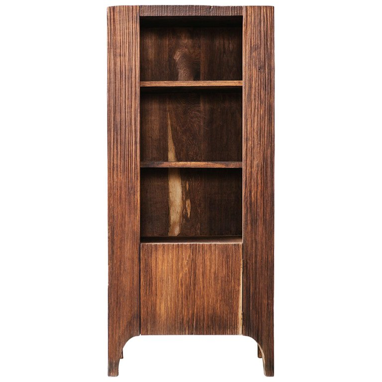 Contemporary Brutalist Style Cupboard In Solid Oak Dark Solid
