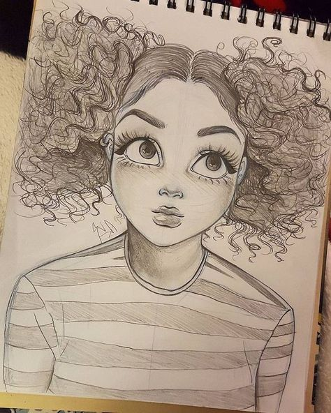 Curly Ponytails Black And White Sketch Big Eyes Striped Blouse How To Draw A Woman Girl Drawing Sketches Sketches Christina Lorre Drawings