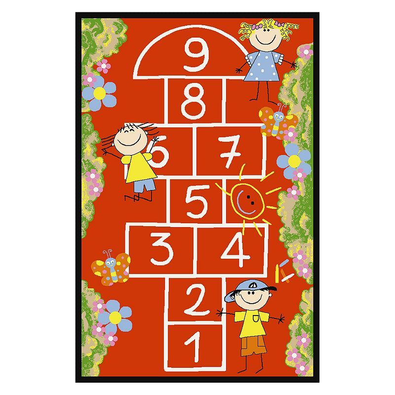 Concord Global Fun Time Hop Scotch Rug, Red