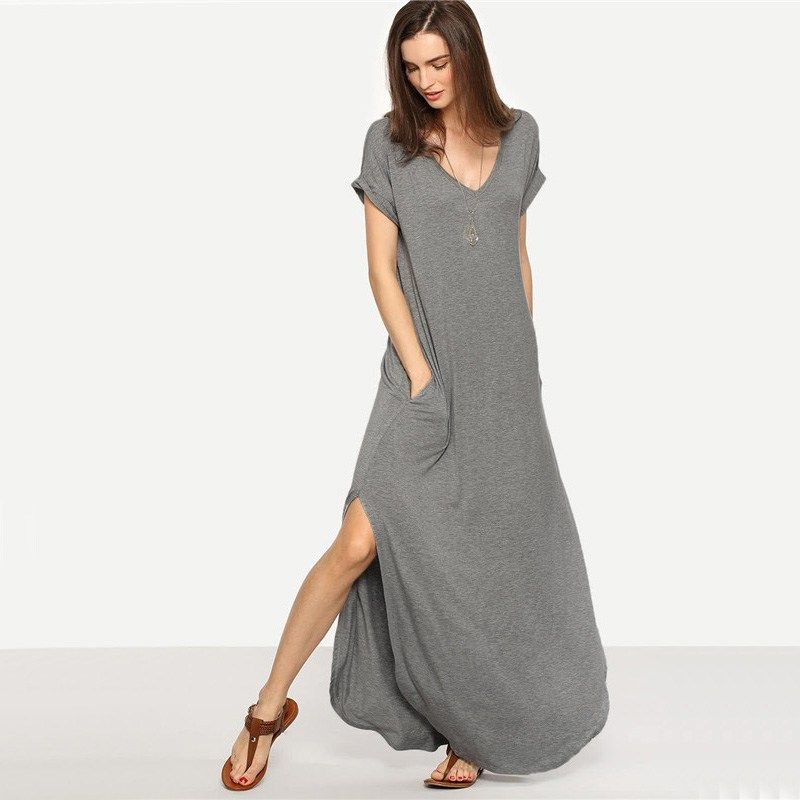 85f312720f7f7 Buy the new SHEIN Maxi Dresses Long Summer Grey Short Sleeve V Neck Tee Dress  Heather Knit Rolled-cuff Pockets Side Split Dress We have collected reduced  to ...