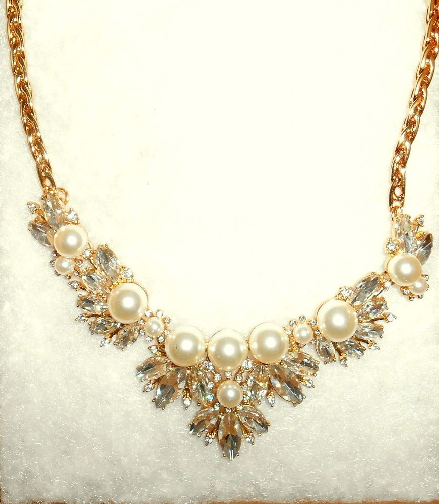BANANA REPUBLIC NEW Womens Pearl Rhinestone in Faux Gold Statement