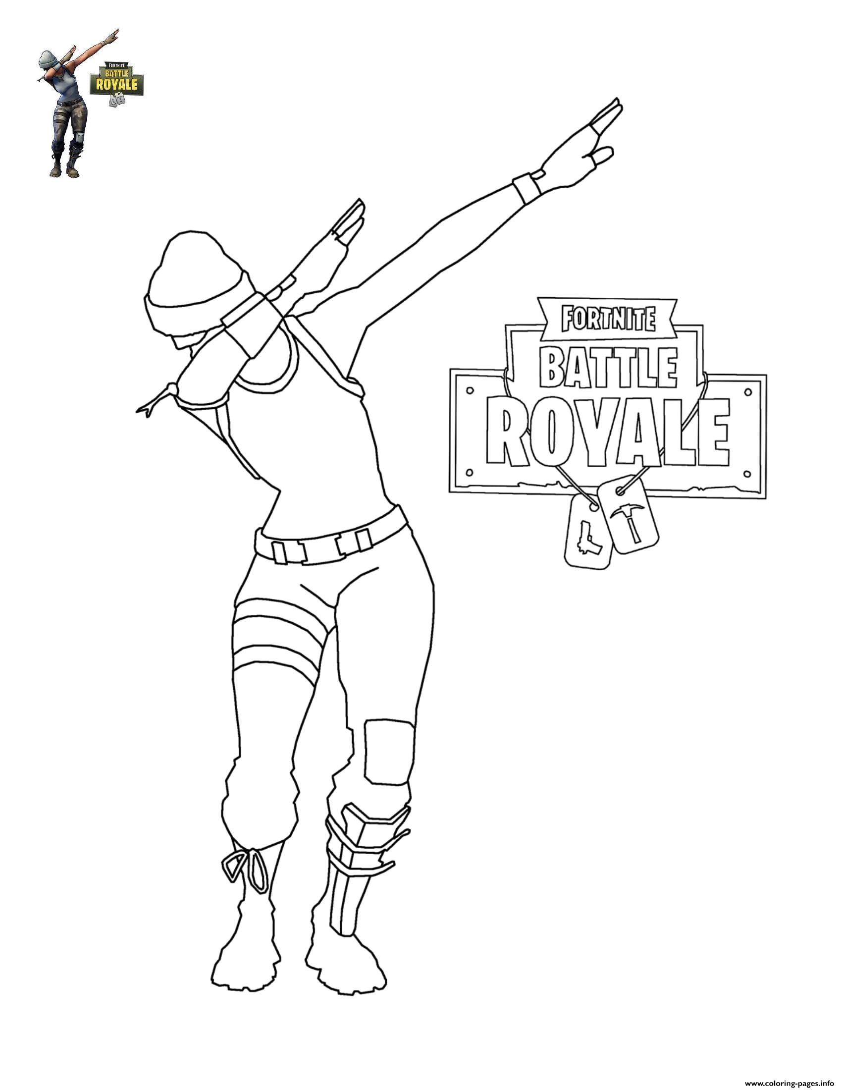 Print Fortnite Dab Coloring Pages