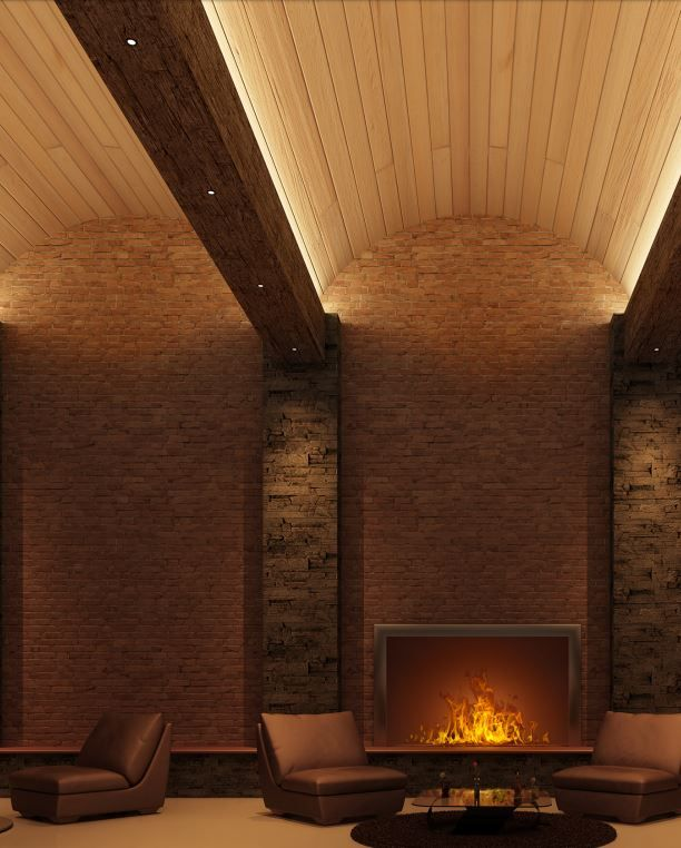 Cooper Industries - Cove Lighting, arch ceiling, brick ...
