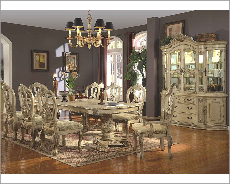 distressed white dining room furniture | MCF Furniture Antique Distressed White Dining Set MCFD6006 ...