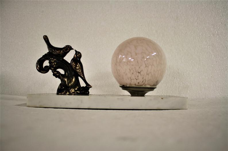 Lampe De Table Art Deco Oiseau Annees 1930 Lampe De Table Art Deco Avec Des Oiseaux Lampe De Table Ancien Oiseau Lampe De Table Des Annees 1930 Lampe