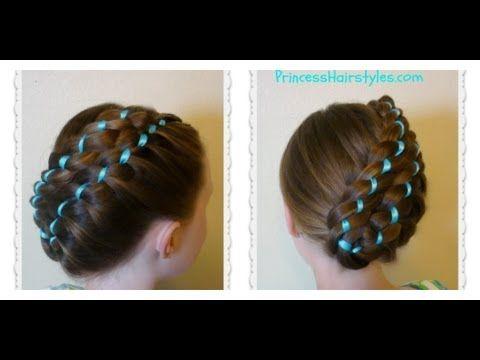 Diagonal Stacked Ribbon Braid Updo Easter Hairstyles Ribbon Hairstyle Cute Box Braids Easter Hairstyles