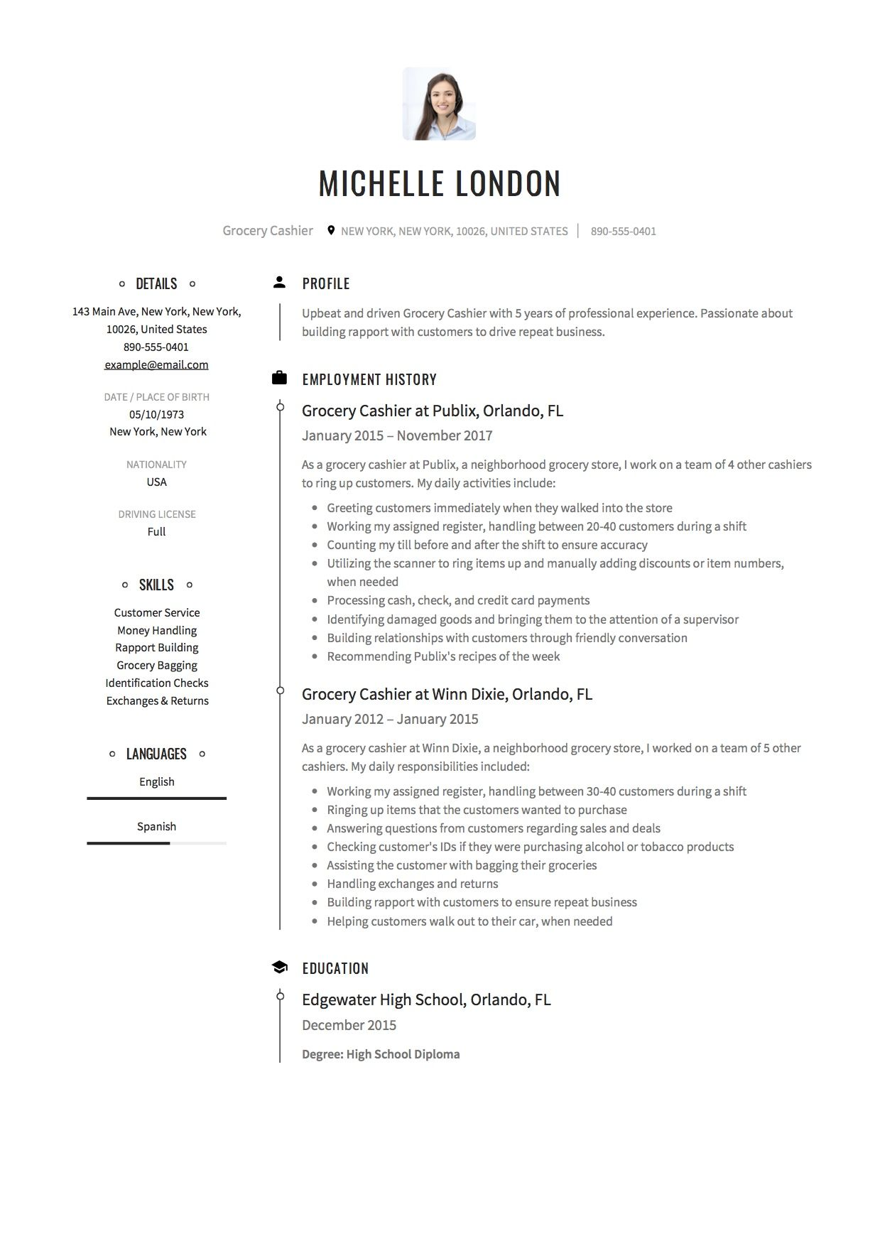 Grocery Cashier Resume Sample Free DownloadExample  Resume
