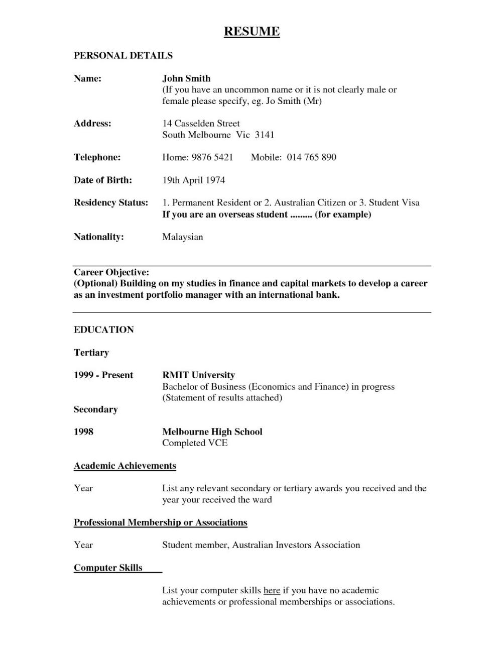 Academic resume examples academic resume examples college
