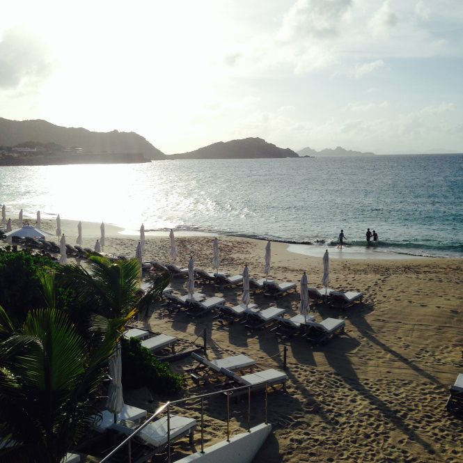 Beach view from the Isle de France hotel in St. Barths