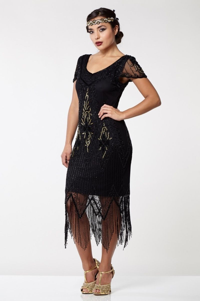 Flapper Style Fringe Party Dress in Black Gold | Pinterest