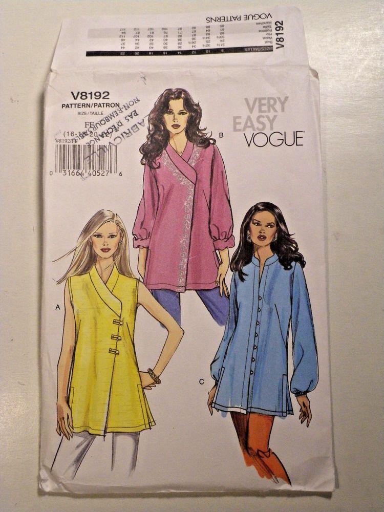 V V8192 Tunic Sewing Pattern Vogue Plus Size 16 18 20 22 Uncut
