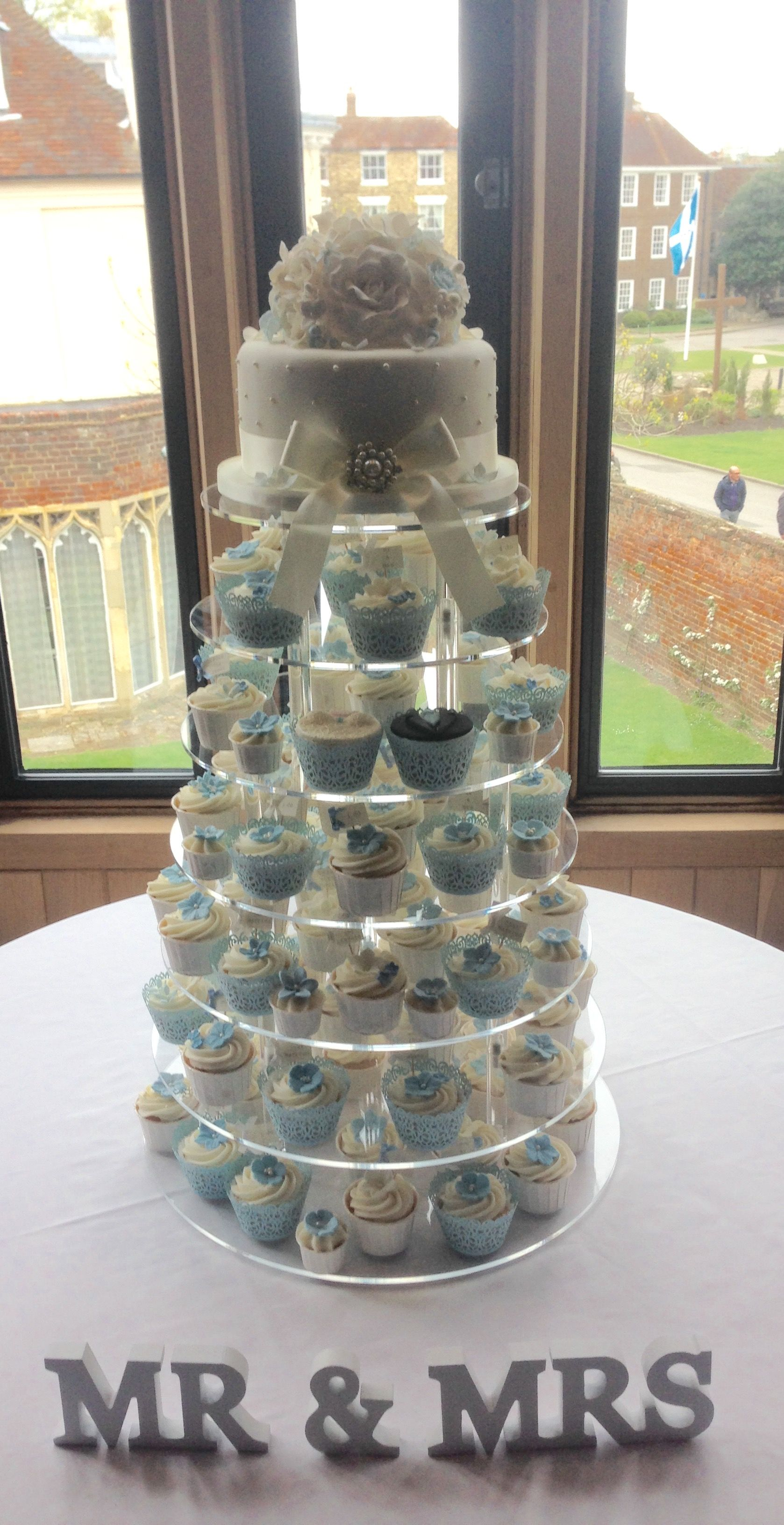 Cornflower blue and ivory pearl cupcake wedding tower