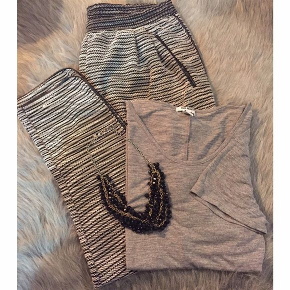 Get Olivia's Look for Less BUNDLE!! Get Olivia's look for less!  NWT slouchy tweed pants with faux leather trim H&M size Medium.  Marked black and white tweed pattern.  Old Navy scoop hem and neck tee with short sleeve size Large.  Black bauble Banana Republic necklace.  Comment for extra details!  H&M Other