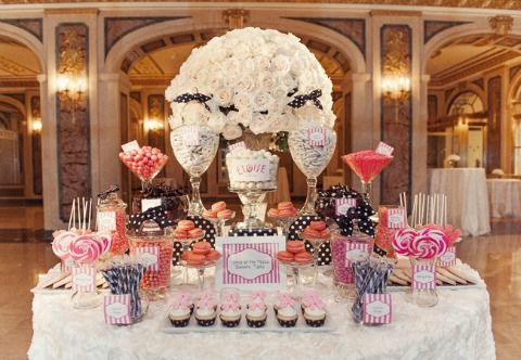 Polka dots and stripes - pretty and fun for a candy buffet