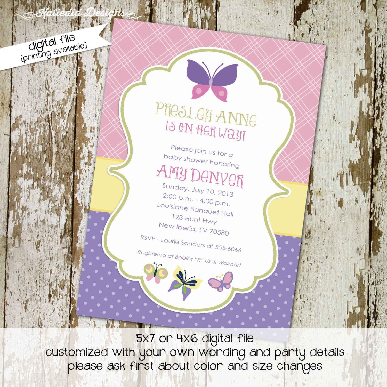 Butterfly baby shower invitation girl sprinkle couples diaper ...