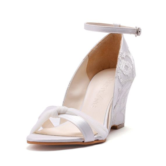 Bella Bells, Ivory Lace Chiffon Wedge Wedding Shoes, Ivory White ...