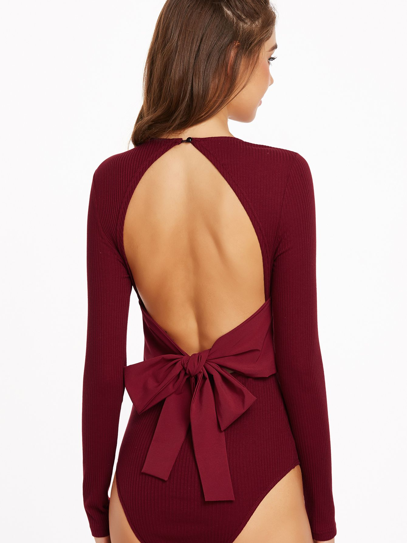 7214cc8ae3 Shop Burgundy Ribbed Knit Bow Tie Open Back Bodysuit online. SheIn offers  Burgundy Ribbed Knit Bow Tie Open Back Bodysuit   more to fit your  fashionable ...