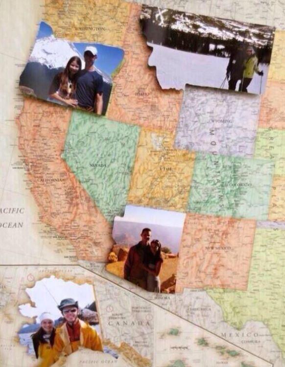 Travel to every state, take a picture, and cut it out in the shape of that state