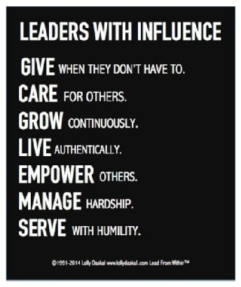 Leaders with influence... | Leadership inspiration, Leadership ...