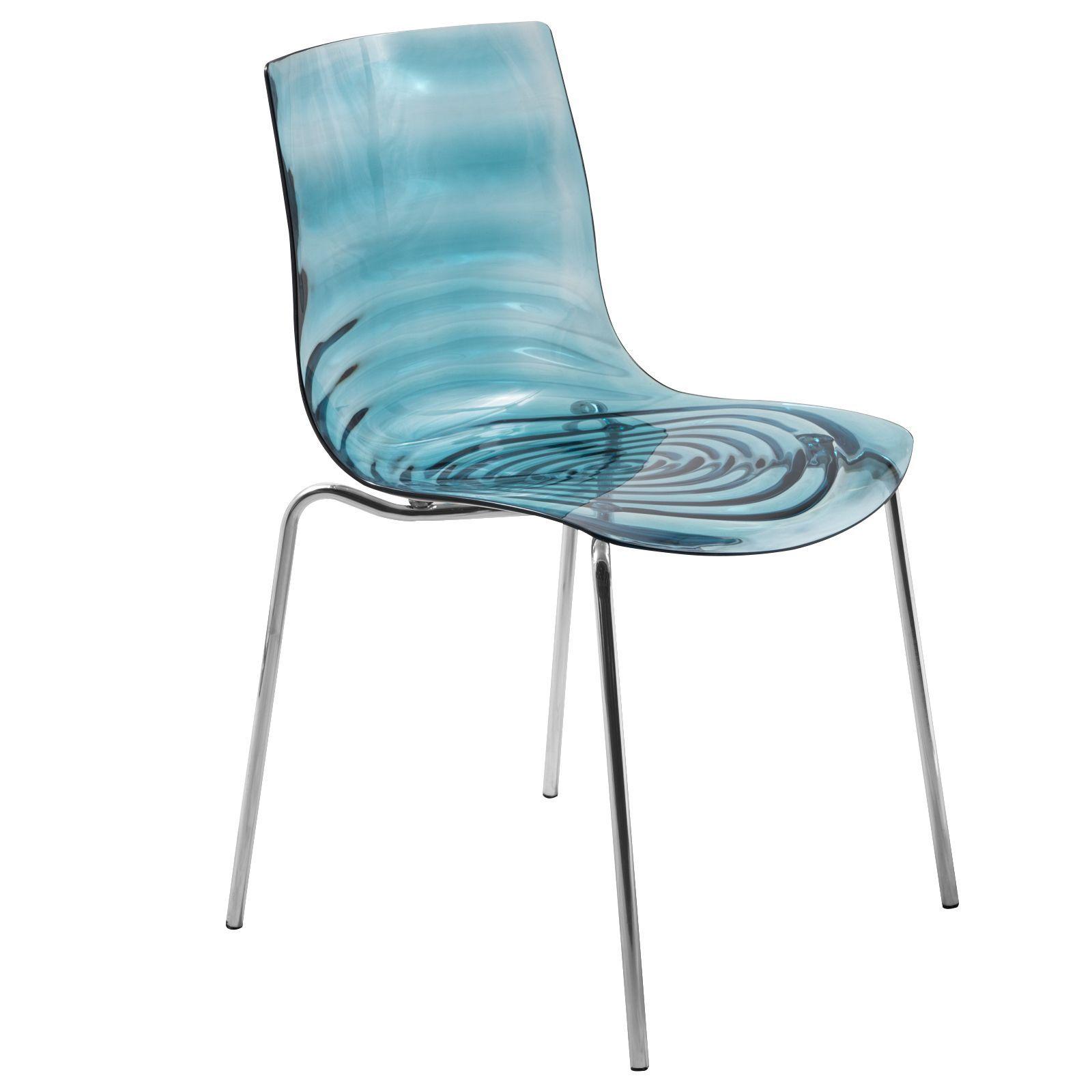 LeisureMod Astor Polycarbonate Modern Transparent Blue Dining Chair (Astor  Transparent Blue Dining Chair) (