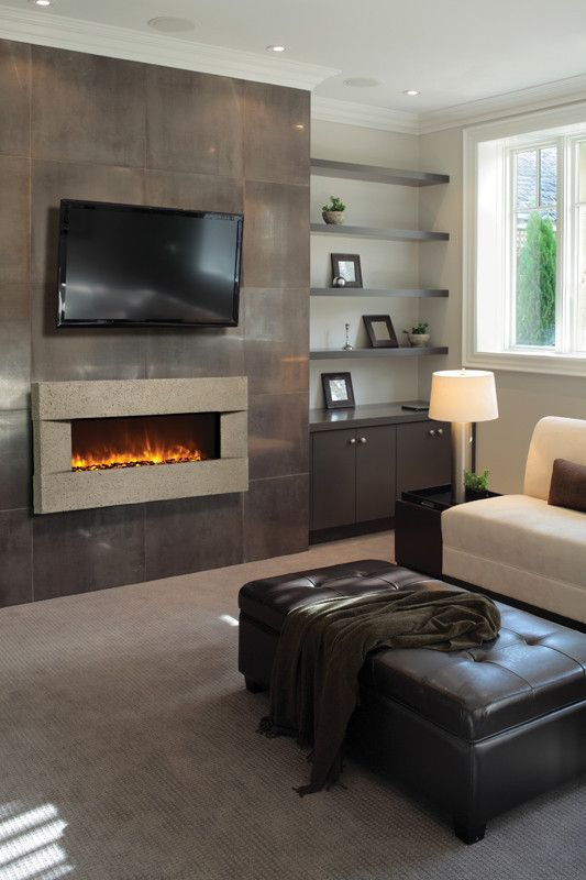 Fireplace Wall Flush Wall With Glass Tile And Metal: Amantii Artisan Built-in/Wall Mounted Electric Fireplace